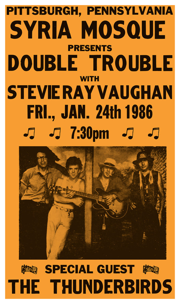 "Stevie Ray Vaughan – Double Trouble With Special Guest The Thunderbirds - 13""x22"" Vintage Style Showprint Poster - Home Nostalgia Decor – Wall Art Print - Concert Bill"