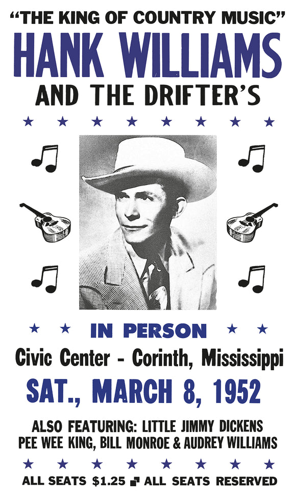 "The King of Country Music – Hank Williams and The Drifters – Civic Center Corinth, Mississippi -  13""x22"" Vintage Style Showprint Poster - Home Nostalgia Decor – Wall Art Print - Concert Bill"