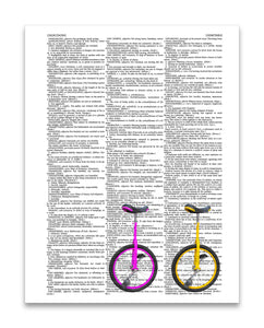 "Unicycles Right 8.5""x11"" Semi Translucent Dictionary Art Print"