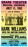 "Hank Williams With The Drifting Cowboys And Special Guest Minnie Pearl - 13""x22"" Vintage Style Showprint Poster - Home Nostalgia Decor – Wall Art Print - Concert Bill"