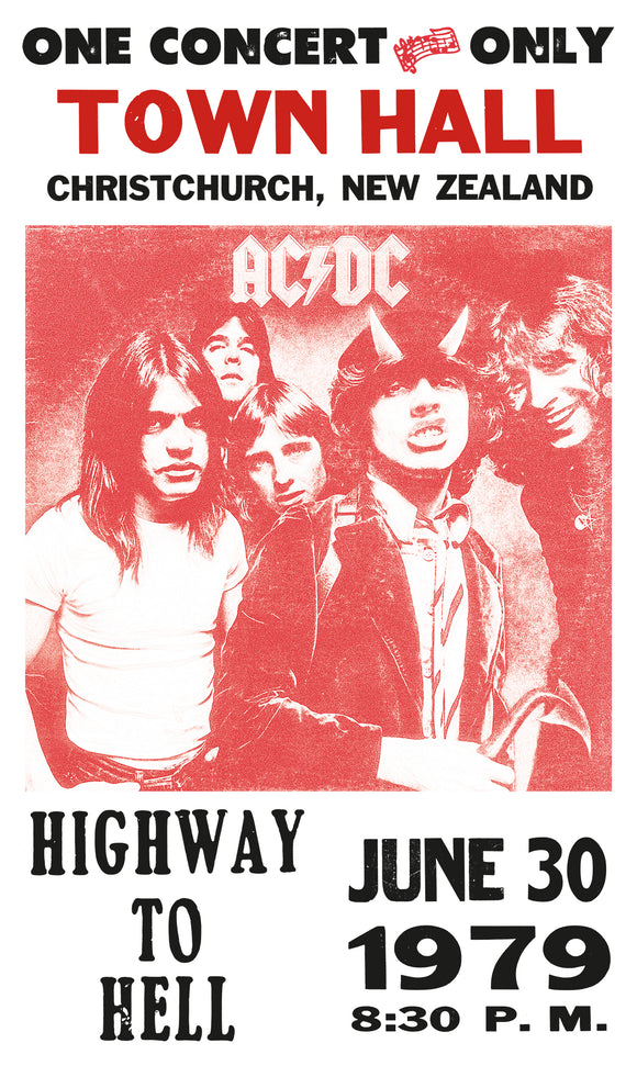 "AC/DC – Highway To Hell – Christ Church New Zealand - 13""x22"" Vintage Style Showprint Poster - Home Nostalgia Decor – Wall Art Print - Concert Bill"