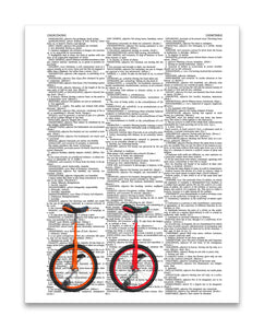"Unicycles Left 8.5""x11"" Semi Translucent Dictionary Art Print"