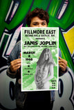 "Fillmore East Presents Janis Joplin - 13""x22"" Vintage Style Showprint Poster - Home Nostalgia Decor – Wall Art Print - Concert Bill"