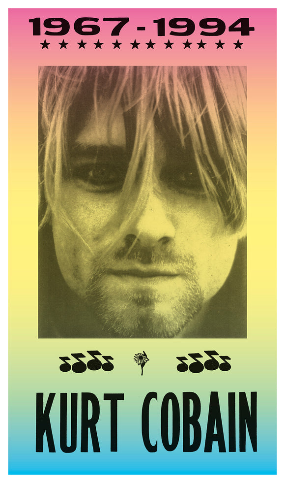 "RIP Kurt Cobain of Nirvana 1967 – 1994 - 13""x22"" Vintage Style Showprint Poster - Home Nostalgia Decor – Wall Art Print - Concert Bill"