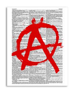 "Anarchy 8.5""x11"" Semi Translucent Dictionary Art Print"
