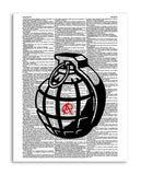 "Anarchist Grenade 8.5""x11"" Dictionary Art Print"