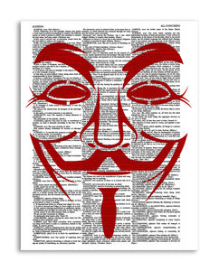 "Anonymous Red 8.5""x11"" Semi Translucent Dictionary Art Print"