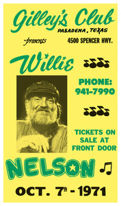 "Gilley's Club Presents Willie Nelson - 13""x22"" Vintage Style Showprint Poster - Home Nostalgia Decor – Wall Art Print - Concert Bill"