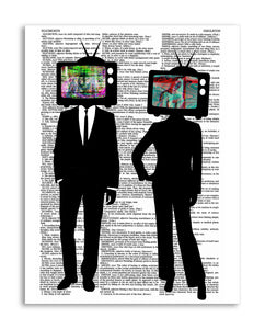 "TV Head Couple 8.5""x11"" Semi Translucent Dictionary Art Print"