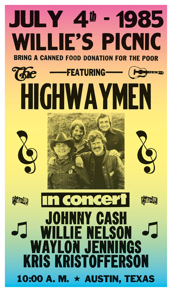 "The Highwaymen - Willie Nelson - Waylon Jennings - Johnny Cash - Kris Kristofferson - 13""x22"" Vintage Style Showprint Poster - Home Nostalgia Decor – Wall Art Print - Concert Bill"