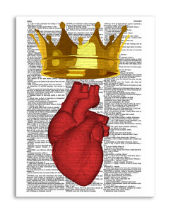 "Crowned Heart Illustration 8.5""x11"" Semi Translucent Dictionary Art Print"