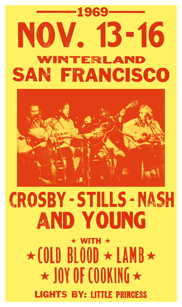 "Winterland - Crosby Stills Nash & Young - 13""x22"" Vintage Style Showprint Poster - Home Nostalgia Decor – Wall Art Print - Concert Bill"