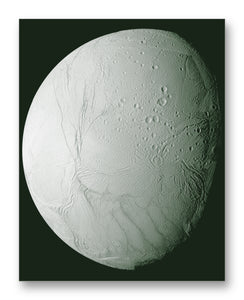 "Enceladus from Cassini 11"" x 14"" Mono Tone Print (Choose Your Color)"