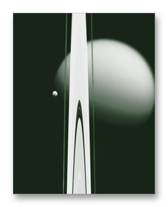 "Saturn Rings & Titan from  Cassini 11"" x 14"" Mono Tone Print (Choose Your Color)"