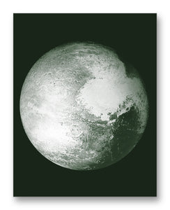 "Pluto from New Horizons 11"" x 14"" Mono Tone Print (Choose Your Color)"