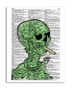 "Marijuana Smoke Skeleton 8.5""x11"" Semi Translucent Dictionary Art Print"