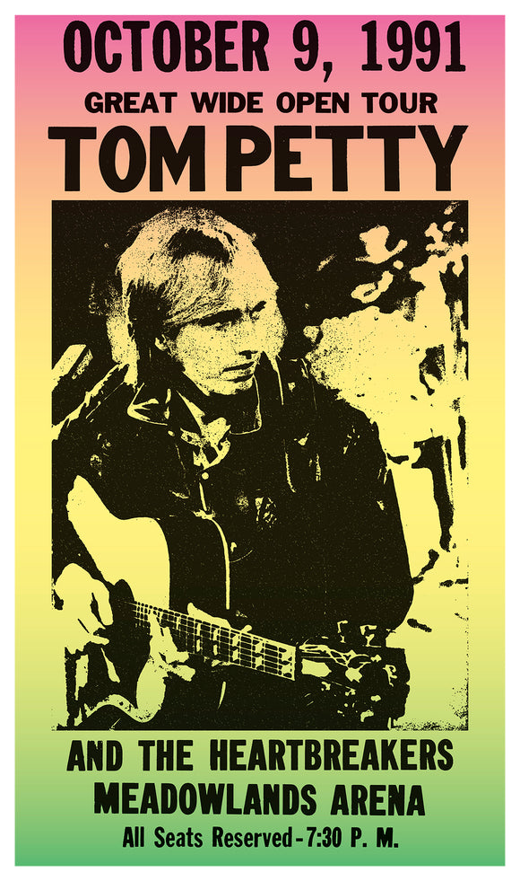 "Tom Petty & The Heartbreakers - Meadowlands Arena - 13""x22"" Vintage Style Showprint Poster - Home Nostalgia Decor – Wall Art Print - Concert Bill"