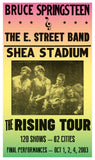 "Bruce Springsteen & The E. Street Band - The Rising Tour - Shea Stadium - 13""x22"" Vintage Style Showprint Poster - Home Nostalgia Decor – Wall Art Print - Concert Bill"