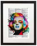 "Colorful Marilyn Monroe Painting 8.5""x11"" Semi Translucent Dictionary Art Print"