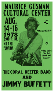 "Jimmy Buffet and The Coral Reefer Band - 13""x22"" Vintage Style Showprint Poster - Home Nostalgia Decor – Wall Art Print - Concert Bill"