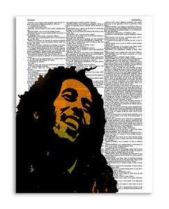 "Bob Marley Illustration 8.5""x11"" Semi Translucent Dictionary Art Print"