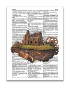 "Floating Temple & Gears 8.5""x11"" Semi Translucent Dictionary Art Print"