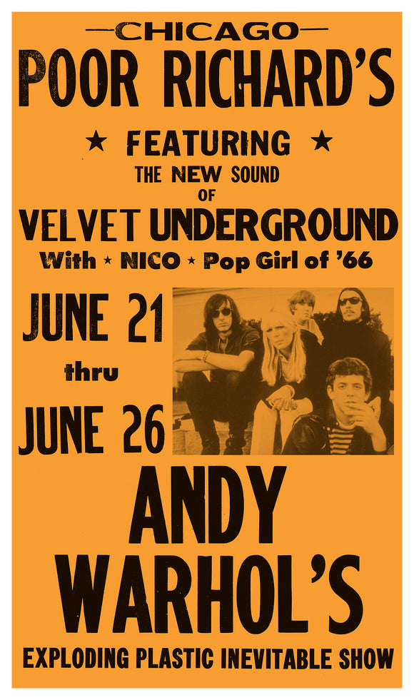 "Andy Warhol's Exploding Plastic Inevitable Show – Velvet Underground - 13""x22"" Vintage Style Showprint Poster - Home Nostalgia Decor – Wall Art Print - Concert Bill"