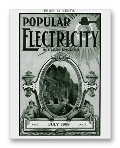 "Popular Electricity 07-1908 11"" x 14"" Mono Tone Print (Choose Your Color)"