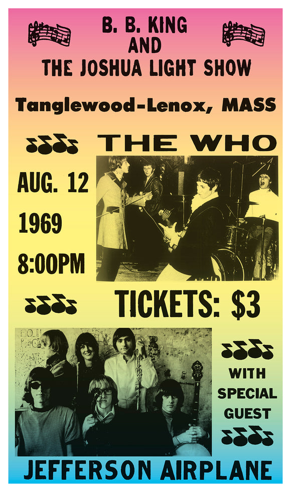 "Tanglewood - The Who - Jefferson Airplane - 13""x22"" Vintage Style Showprint Poster - Home Nostalgia Decor – Wall Art Print - Concert Bill"