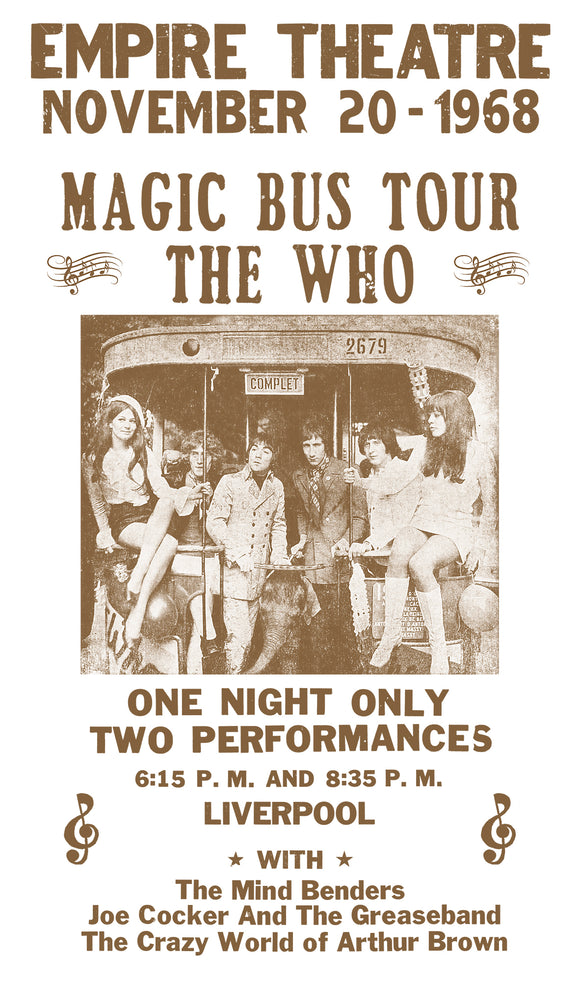 "Magic Bus Tour - The Who - 13""x22"" Vintage Style Showprint Poster - Home Nostalgia Decor – Wall Art Print - Concert Bill"
