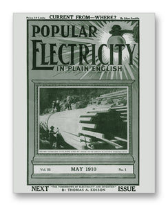 "Popular Electricity 05-1910 11"" x 14"" Mono Tone Print (Choose Your Color)"