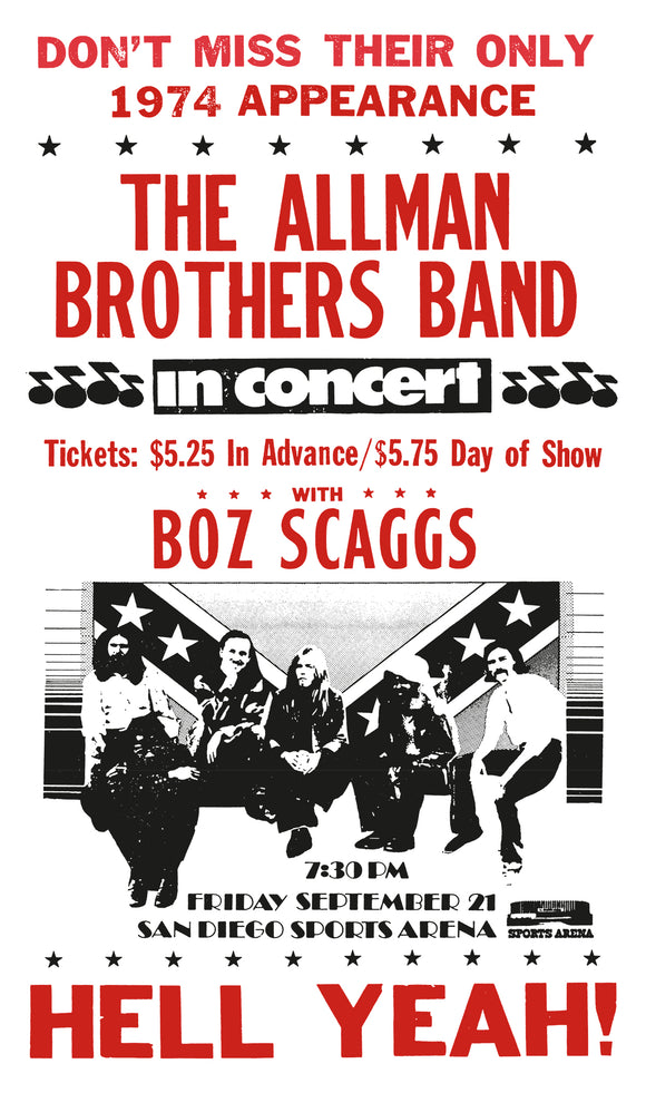 "The Allman Brothers Band Featuring Boz Scaggs - 13""x22"" Vintage Style Showprint Poster - Home Nostalgia Decor – Wall Art Print - Concert Bill"