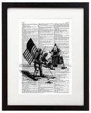 "Astronaut Landing Drawing 8.5""x11"" Semi Translucent Dictionary Art Print"