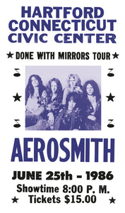 "Aerosmith Done With Mirrors Tour - Hartford Connecticut - 13""x22"" Vintage Style Showprint Poster - Home Nostalgia Decor – Wall Art Print - Concert Bill"
