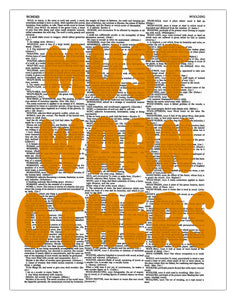 "Must Warn Others 8.5""x11"" Semi Translucent Dictionary Art Print"