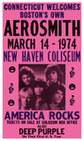 "America Rocks - Aerosmith - New Haven Coliseum - Connecticut - 13""x22"" Vintage Style Showprint Poster - Home Nostalgia Decor – Wall Art Print - Concert Bill"