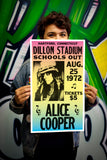 "Dillon Stadium - Alice Cooper – School's Out - Hartford Connecticut - 13""x22"" Vintage Style Showprint Poster - Home Nostalgia Decor – Wall Art Print - Concert Bill"