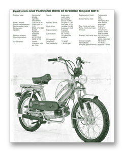 "Kreidler Moped Tech Specs 11"" x 14"" Mono Tone Print (Choose Your Color)"