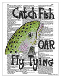 "Catch A Fish 8.5""x11"" Semi Translucent Dictionary Art Print"