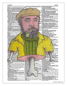 "Bone Captain 8.5""x11"" Semi Translucent Dictionary Art Print"