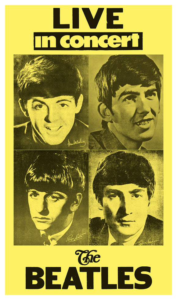 "Live in Concert - The Beatles - 13""x22"" Vintage Style Showprint Poster - Home Nostalgia Decor – Wall Art Print - Concert Bill"