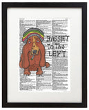 "Basset To The Left  8.5""x11"" Semi Translucent Dictionary Art Print"