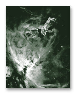 "Laika Floating Near Orion 11"" x 14"" Mono Tone Print (Choose Your Color)"