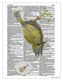 "Smoking Bird 8.5""x11"" Semi Translucent Dictionary Art Print - Artmeat Artist Edition"