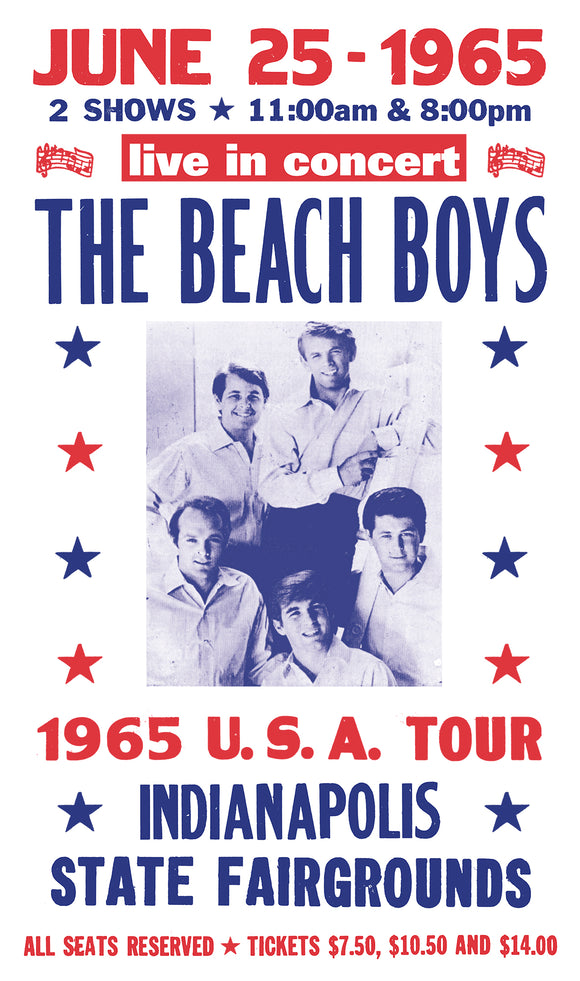 "The Beach Boys - Indianapolis State Fairgrounds - 13""x22"" Vintage Style Showprint Poster - Home Nostalgia Decor – Wall Art Print - Concert Bill"