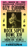 "Ozzy Osbourne - Rock Super Bowl XIV - 13""x22"" Vintage Style Showprint Poster - Home Nostalgia Decor – Wall Art Print - Concert Bill"