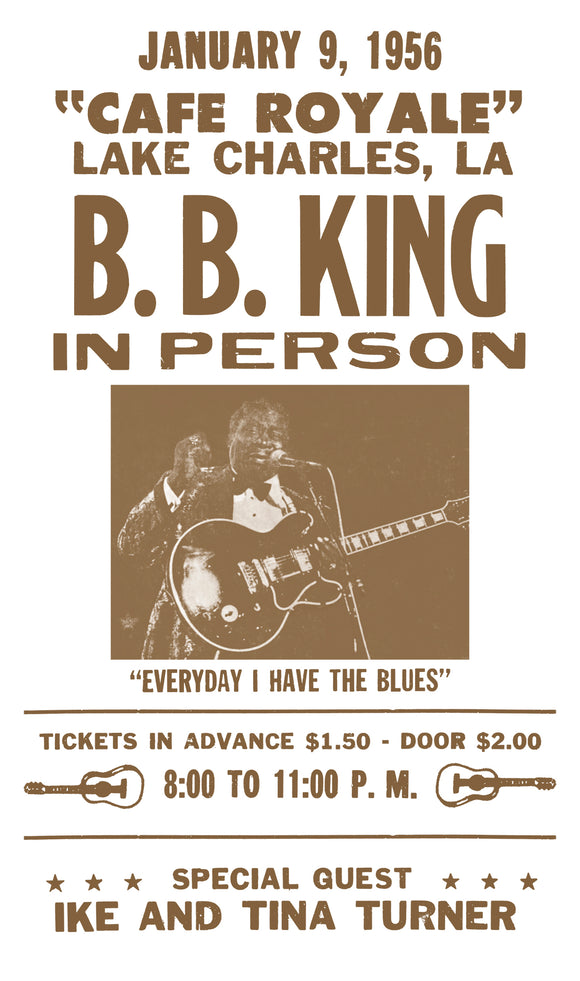 "B. B. King - Cafe Royale - 13""x22"" Vintage Style Showprint Poster - Home Nostalgia Decor – Wall Art Print - Concert Bill"