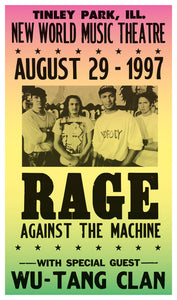 "Rage Against The Machine - New World Music Theatre - 13""x22"" Vintage Style Showprint Poster - Home Nostalgia Decor – Wall Art Print - Concert Bill"