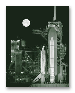 "Shuttle Discovery Full Moon 11"" x 14"" Mono Tone Print (Choose Your Color)"