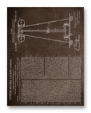 "Tesla Coil Patent 11"" x 14"" Mono Tone Print (Choose Your Color)"